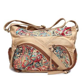 Canvas Tribal Flower Printing Multi-pockets Crossbody Bag Shoulder Bags For Women