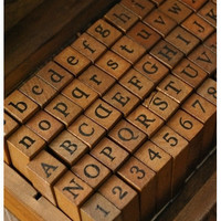 Antique Wooden Rubber Stamps Alphabet Stamps Set by SaraThavasa