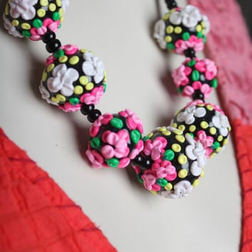 Pastel Pink Flower Necklace / Floral Chunky Beads / Statement