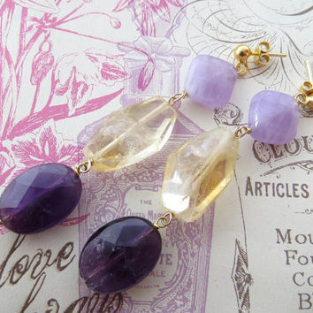 Amethyst earrings, citrine earrings, raw stone jewelry, gemstone jewels, sterling silver 925 gold plated 18 k, Made in Italy