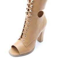 Ankle Cut-Out Peep Toe Lace-Up Heels by Charlotte Russe - Tan