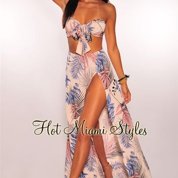 Nude Lilac Palm Print Slit Maxi Two Piece Set