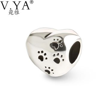 V.Ya DIY Big Hole Footprint Pattern Bead fit for Pandora Heart Shape Beads for Chain Neckalces New Fashion Jewelry Accessories