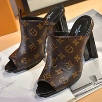 LOUIS VUITTON LV Women Fashion Leather Heels Sandals Shoes