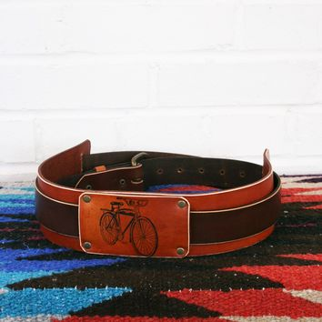 Bicycle Image Leather Guitar Strap *Free Customization*