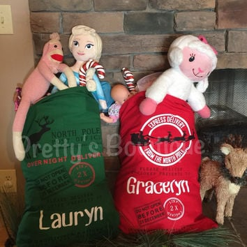 Personalized Christmas Sack – Santa Sack or Reindeer Sack with Child's Name