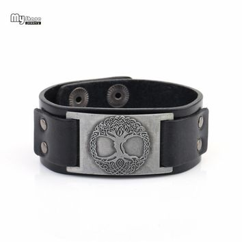My Shape Vintage Wristband Slavic Tree of Life Genuine Leather Strap Bracelets Men Religion Totem Lucky Viking Bangle