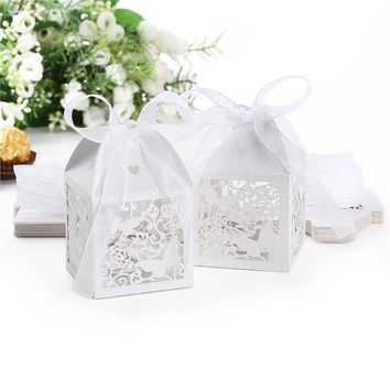 50pcs Laser Cut  Butterfly Style Wedding Favor Candy Boxes Gift Boxes with Ribbons