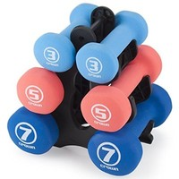 Set of 3 Pairs of Neoprene Body Sculpting Hand Weights with Stand by Crown Sporting Goods