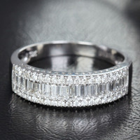 Baguette/Round DIAMOND WEDDING BAND ENGAGEMENT RING 14K WHITE GOLD 1.37ct