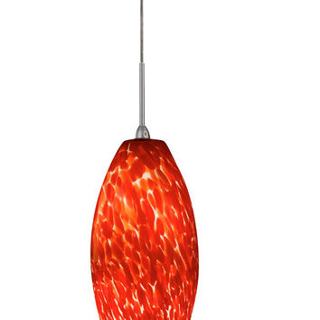 AFX BEPL45040RDSN Bella Satin Nickel Hand Blown Glass One-Light LED Mini Pendant