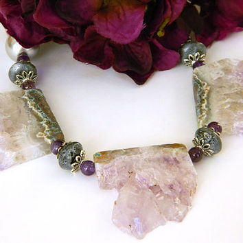 Amethyst Necklace, Unique, Statement Necklace, Pearl and Gemstone, Handcrafted Necklace, Rough Cut Agate, Gemstone Beads, Glass Pearls