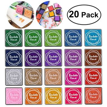ULTNICE 20pcs Multi-colored Giant Ink Pads Stamp Pads for DIY Craft Scrapbooking Finger Paint Ink Pad Set