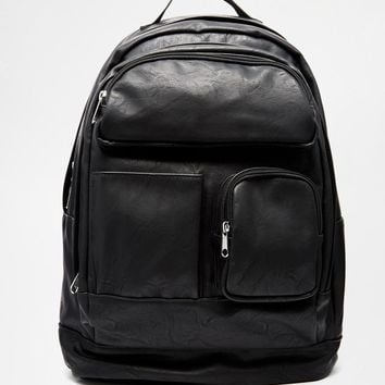 ASOS | ASOS Backpack In Black Faux Leather With Multi Pocket at ASOS