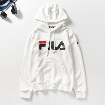 FILA Hot selling casual hoodie for couples fashion printed hoodie White