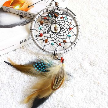New Window Car Room Wall Decoration Silver Dream Catcher Feathers Core Bead Dreamcatcher