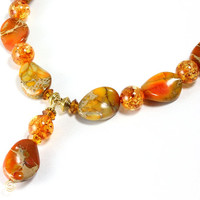 Sunset Jasper and Amber Necklace, Sea Sediment Jasper, Orange Necklace, Gemstone Necklace