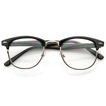 Optical Quality Horned Rim Clear Lens RX'able Half Frame Horn Rimmed Glasses