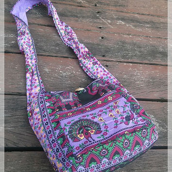Purple Hippie Elephant Mini Shoulder Bag Sling Gyspy Boho Pouch Yam Ethnic Aztec Art Printed Purse Beach Tote School Bags Crossbody Gift For