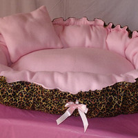 Cheetah Print Puppy Bed that Turns into Full Size Dog Bed