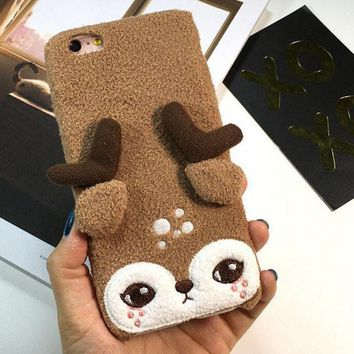 ONETOW Day-First? Cute Deer Furry iPhone 6 6s Plus Case