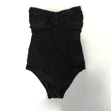 Black One piece swimsuit or body suit. Bow Swimsuit low cut leg. k Vintage inspired bodysuit .bra sipport sexy and cute. Strapless