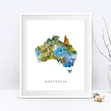 Australia Map Print Australia Poster Watercolor Australia Map Artwork Painting Map Art Wall Art Home Decor Gift For Mom Digital Download