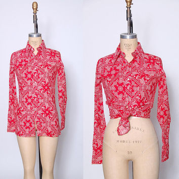 Vintage 70s Red BANDANA Print Shirt WESTERN Shirt 70s Printed Button Down Shirt