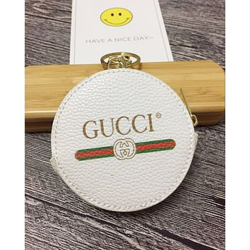 GUCCI New Popular Round Leather Zipper Key Pouch Wallet Coin Purse(5-Color) White I-MYJSY-BB
