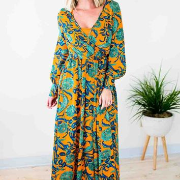 She's Going the Distance Floral Maxi Dress