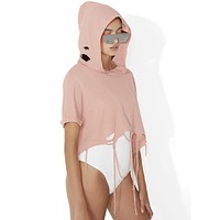 Women Casual Personality Ripped Tassel Solid Color Hooded Short Sleeve Sweater Crop Tops
