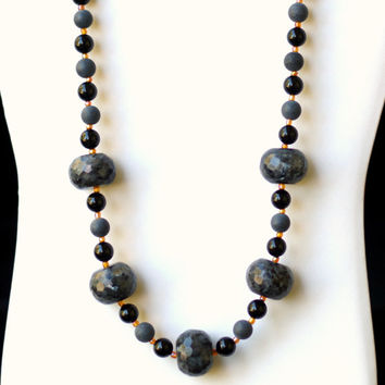Long Chunky Statement Black Onyx Larvikite Necklace/ Natural Semiprecious Stones Necklace/ Formal Gothic Black Necklace/ OOAK Unique