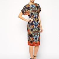 ASOS | ASOS Pencil Dress with Cut Out Back in Wallpaper Print at ASOS