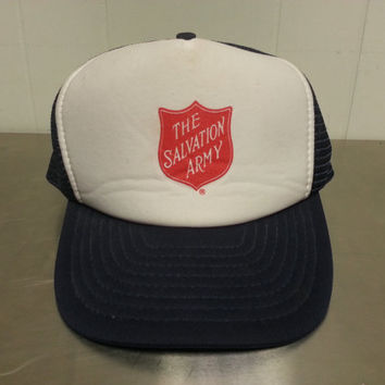 Vintage 1980's Salvation Army Trucker Hat Snapback Mesh Hat Cap Hipster Style Dad Hat Made By Nissun