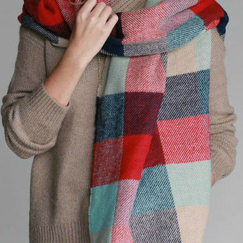 Reversible Blanket Scarf in Color Block & Stitched Stripe