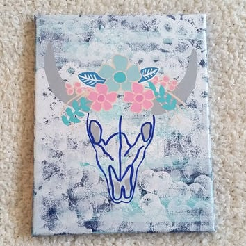 Cow skull with flowers acrylic canvas painting for bedroom, dorm room, apartment, nursery, or home decor
