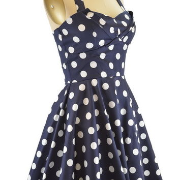 50s Style NAVY Polka Dot TRAVELING CUPCAKE TRUCK Dress with HALTER Petal Bust