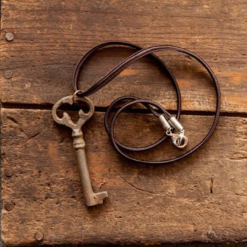 Skeleton Key Necklace on Vintage Silk Cord