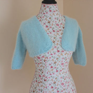 Mist Blue Wedding Bolero Knit from 70% angora rabbit angora yarn- Handmade Bridal Wrap Crop V-neck No buttons bolero Size S, Ready to ship