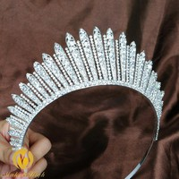 Awesome Miss Beauty Pageant Tiara Crown Clear Crystals Brides Headband Hair Accessory Wedding Bridal Prom Party Costumes