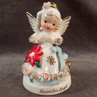 Vintage Birthday Angel - December Birthday Porcelain Figure with Christmas Poinsettia
