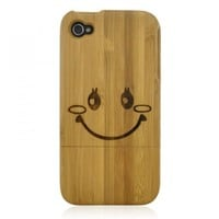 Hand Carved Bamboo iPhone 4 / 4S Case - Smile