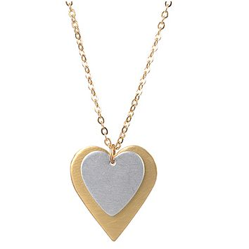 Small Silver Over Gold Heart Pendant