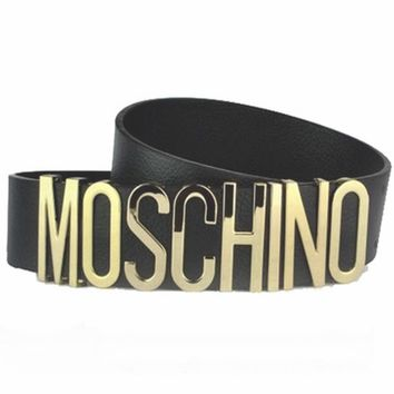 MOSCHINO stylish letter belt ladies wild double gold plate buckle belt F0268-1