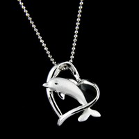 925 STERLING SILVER HAWAIIAN DOLPHIN JUMPING THRU SHINNY HEART PENDANT