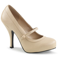 """Pin Up 01 Mary Jane Pump 4.5"""" Heel Cream Leatherette PRE-ORDER"""