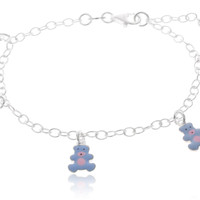 925 Sterling Silver 6-7 Inch Adjustable Link Chain with Blue Teddy Bear Charms Bracelet