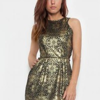 Gold Foil Sleeveless Dress with All Over Baroque Print