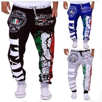 Mens Joggers 2016 Men'S Fashion Italy Flag Printing Leisure Mens Joggers Department Of Bandwidth Loose Men Pants XXL