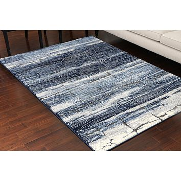 5602 Blue Carved 3D Design Contemporary Area Rugs